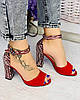 Женские босоножки на каблуке красного цвета с принтом. Размеры 36-40