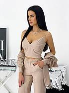 Стильний жіночий костюм трійка з креп жатки, 01053 (Бежевий), Розмір 42 (S), фото 2