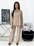 Стильний жіночий костюм трійка з креп жатки, 01053 (Бежевий), Розмір 42 (S), фото 3