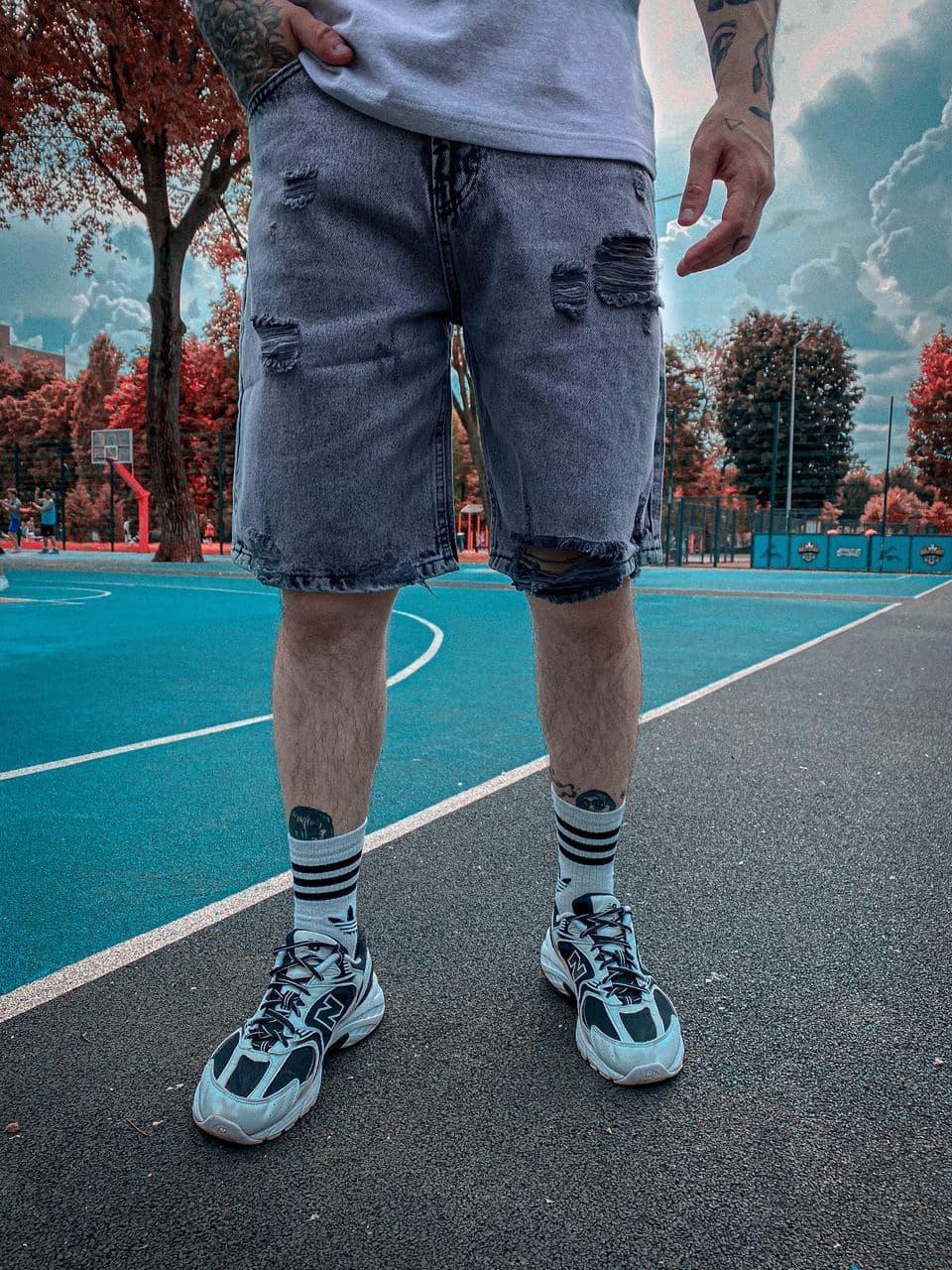 Чоловічі джинсові шорти (сині) рвані модні на літо 2021 ssh1