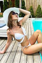 Женский раздельный купальник-трансформер с оригинальными длинными завязками. Бифлекс. Белый