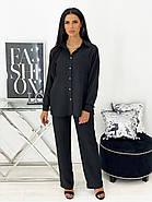 Практичный летний костюм тройка (топ, штаны, рубашка), 01055 (Черный), Размер 42 (S), фото 2
