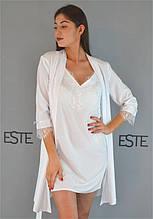 Белый комплект на утро невесты халат и сорочка.