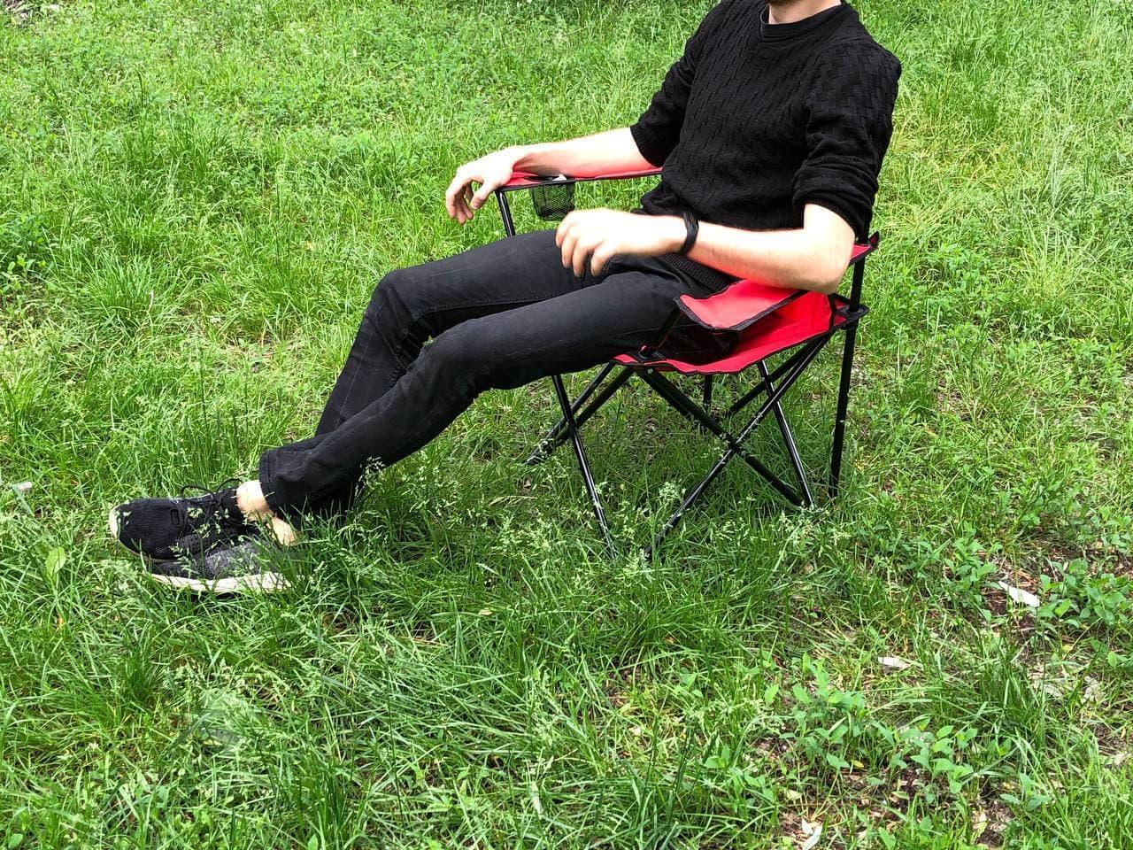 Складаний портативний стілець для пікніка, туризму, рибалки з підсклянником і чохлом червоний
