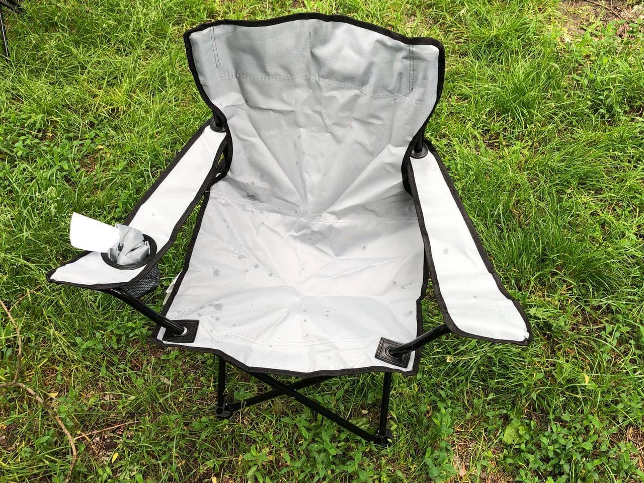Складной портативный стул  для пикника, туризма, рыбалки с подстаканником и чехлом белый