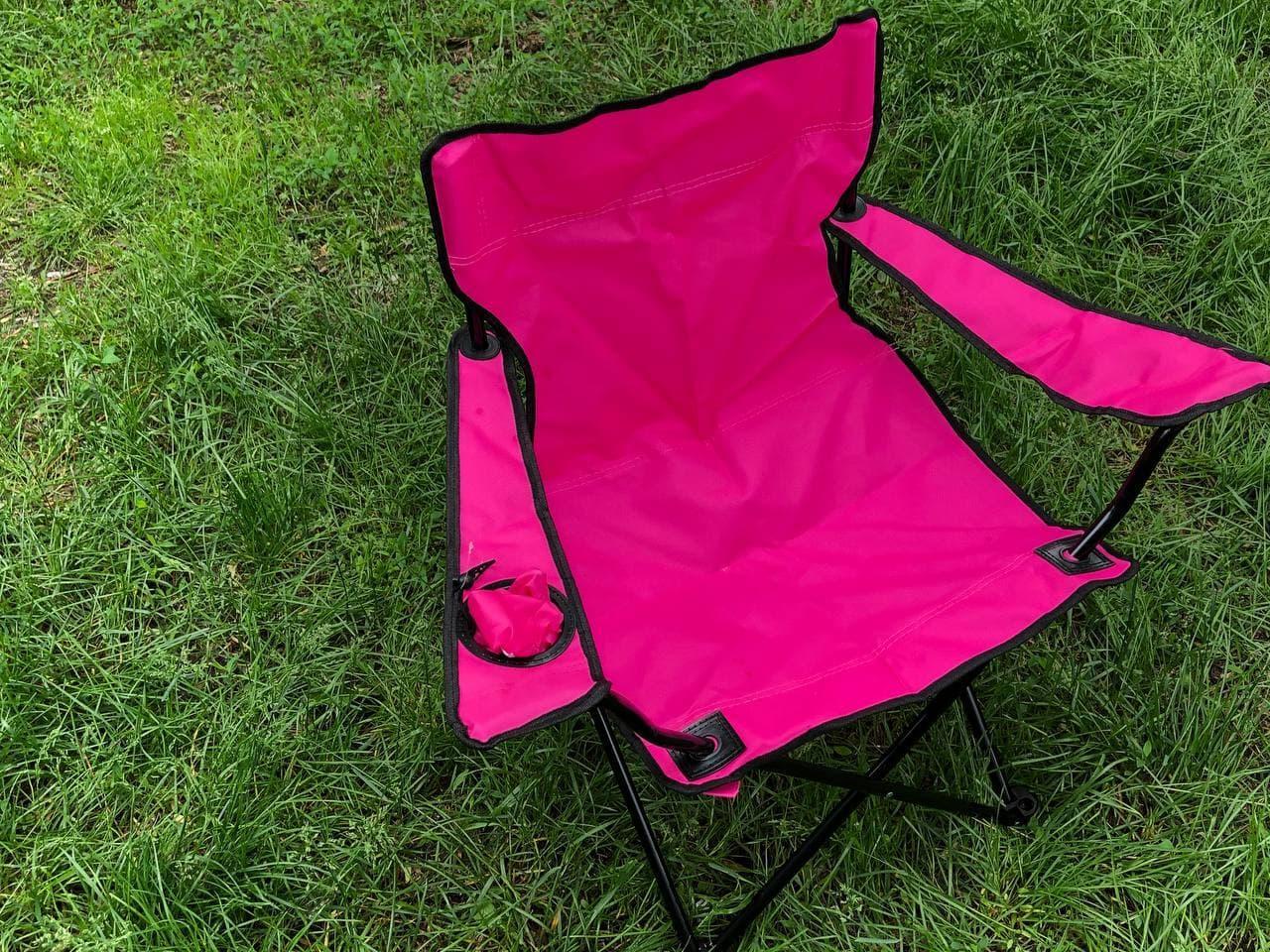 Складаний портативний стілець для пікніка, туризму, рибалки з підсклянником і чохлом рожевий