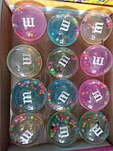 ОПТ!!! Лизун-слайм M&M прозрачный с бусинками 7 см, 12 шт в упаковке