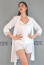 Белый комплект на утро невесты Este халат майка шорты .