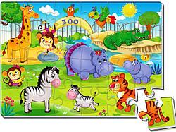 Детские мягкие пазлы животные Зоопарк 24 элемента А4, Vladi Toys (VT1102-13)