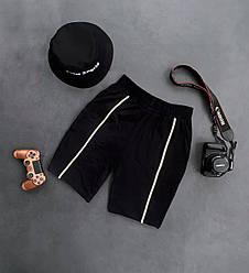 Чоловічі шорти з биком (чорні) трикотажні з смугами на літо ѕ181_ш