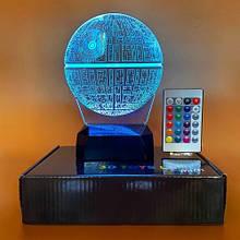 "3D светильник-ночник ""Звезда смерти"" + пульт + аккумулятор 3DTOYSLAMP MINI"