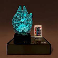 """3D светильник-ночник """"Сокол тысячелетие"""" + пульт + аккумулятор 3DTOYSLAMP MINI"""