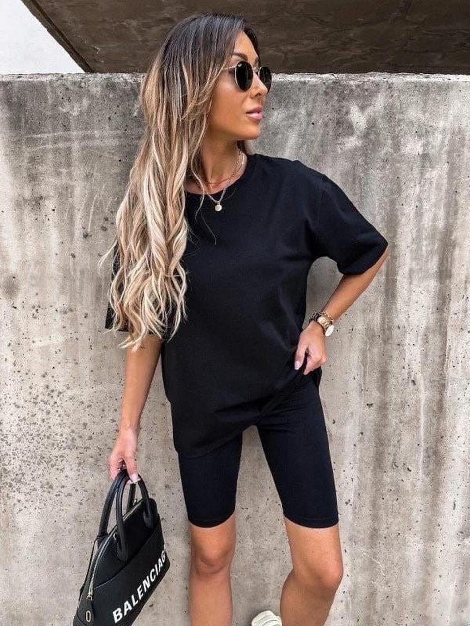 Женский комплект из футболки с удлиненным рукавом и  велосипедок, 01062 (Черный), Размер 42 (S)