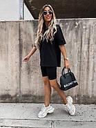 Женский комплект из футболки с удлиненным рукавом и  велосипедок, 01062 (Черный), Размер 42 (S), фото 3