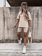 Костюм жіночий двійка (футболка рукавом до ліктя і велосипедки), 01063 (Бежевий), Розмір 42 (S), фото 3
