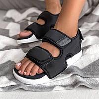 Зручні жіночі сандалі Adidas Adilette 3.0 чорні | Літні відкриті тканинні босоніжки Адідас Адилет