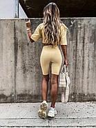 Модный комплект женский (футболка и велосипедки), из турецкого кулира, 01064 (Желтый), Размер 42 (S), фото 2