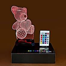"""3D светильник-ночник """"Мишка с сердцем"""" + пульт + аккумулятор 3DTOYSLAMP MINI"""