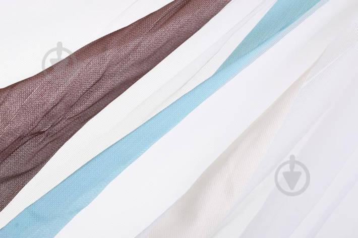 Тканина тюлева смужки на сітці 300 см біла 645167/112, фото 2