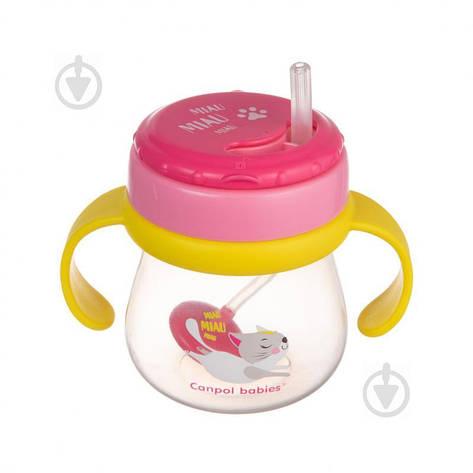 Поильник Canpol Babies с силиконовой трубочкой и утяжелителем 250 мл розовый, фото 2