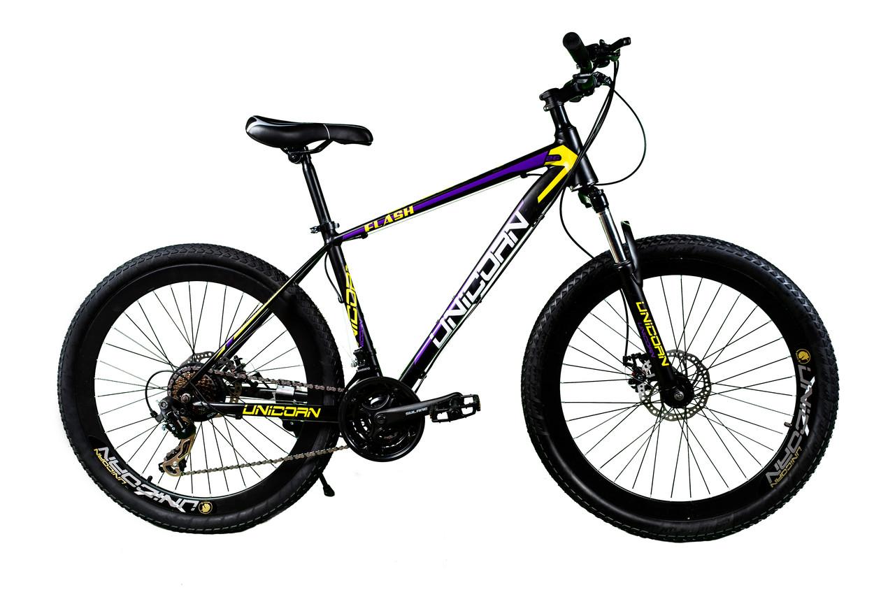 """Велосипед Unicorn - Flash 26"""" розмір рами 18"""" Чорно-фіолетовий"""