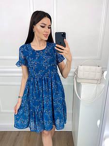 """Шифоновое мини-платье в цветочек """"Весна"""" с коротким рукавом"""