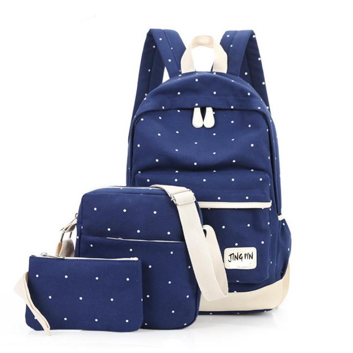 Уценка! Набор 3 в1: рюкзак, сумка через плечо и кошелек-косметичка, синий рюкзак в горошек УСС-2544-50-1