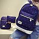 Уценка! Набор 3 в1: рюкзак, сумка через плечо и кошелек-косметичка, синий рюкзак в горошек УСС-2544-50-1, фото 2