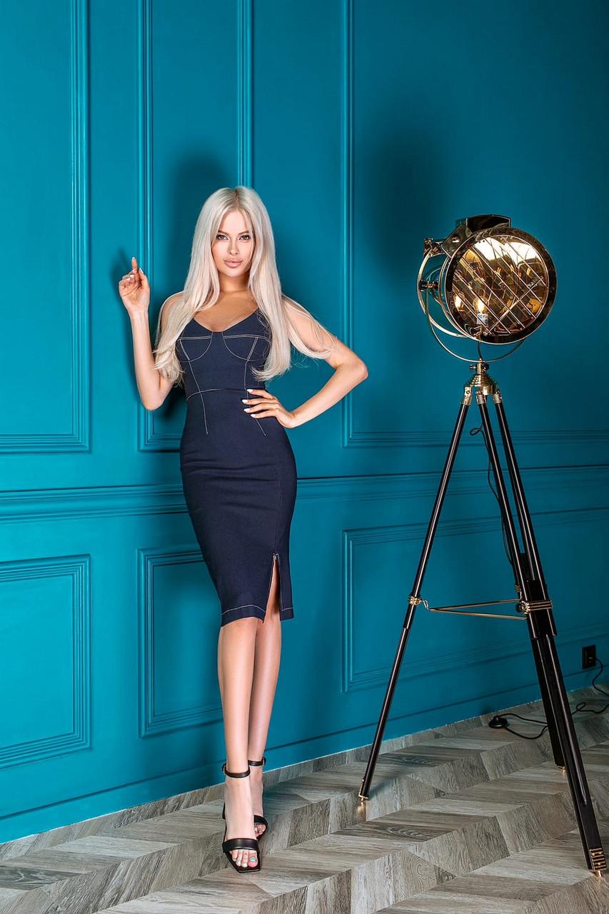 Жіночне плаття завдовжки до колін на бретельках, 01068 (Синій) ,Розмір 42 (S)