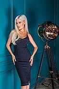 Жіночне плаття завдовжки до колін на бретельках, 01068 (Синій) ,Розмір 42 (S), фото 2