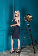 Жіночне плаття завдовжки до колін на бретельках, 01068 (Синій) ,Розмір 42 (S), фото 3