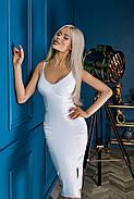 Приталенное платье с бюстье на тонких бретелях, 01069 (Белый), Размер 42 (S), фото 2