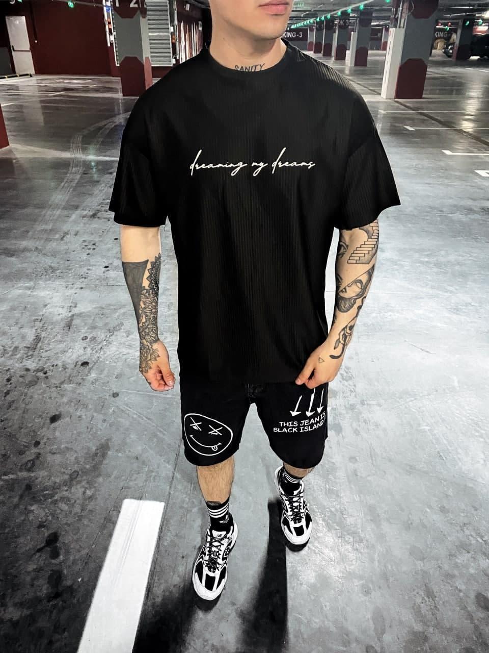 Стильна чоловіча футболка з написом білою (чорна) стильна одяг sF92