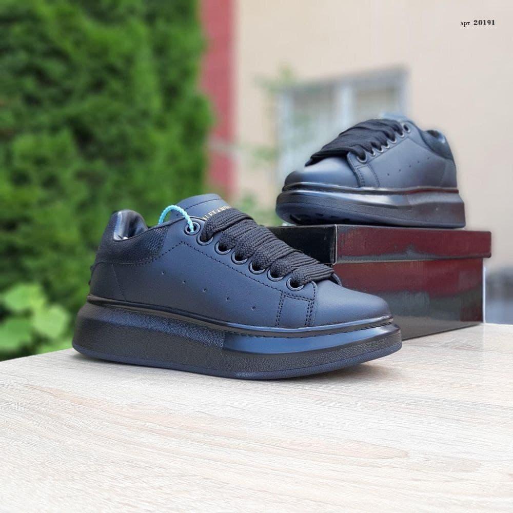 Женские кроссовки Alexander McQueen (черные) О20191 удобная качественная обувь