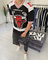 Мужская футболка модная с принтом быка 23 (черная) стильная одежда sF160