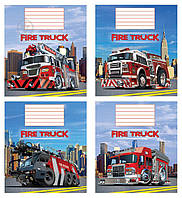 Комплект тетрадей Пожарные машины 12 листов косая линия 20 шт. Мечты сбываются