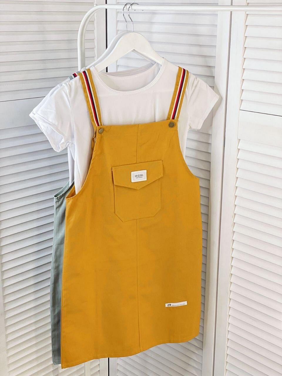 Літній жіночий комплект (футболка плюс короткий сарафан з кишенею на грудях), 00025 (Гірчичний), Розмір 44 (M)