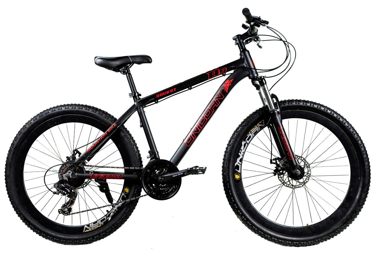 """Велосипед Unicorn - Rocket 26"""" розмір рами 17"""" Чорно-червоний"""