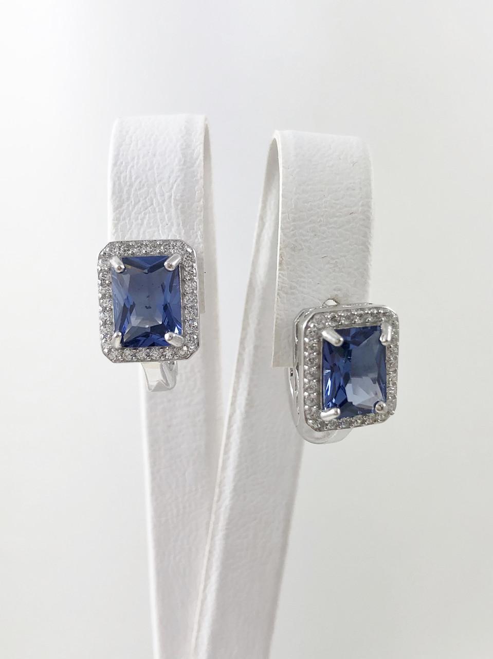Сережки срібні з танзанітом Т2070-тз
