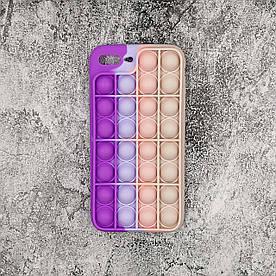 Чехол антистресс Pop It для iPhone 7 Plus силиконовый, Фиолетовый