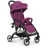 Візок дитячий ME 1058 WISH Purple прогулянковий, книжка, колеса 4 шт., чохол, льон, фіолетовий.
