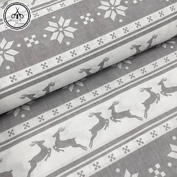 """Відріз тканини Польська бавовняна тканина """"олені сірі новорічні на білому"""" 60х160см"""