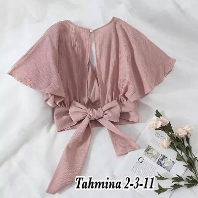 Женская летняя укороченная блузка из шифона с красивой спинкой