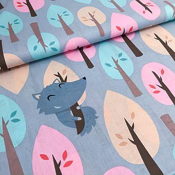 """Відріз тканини Польська бавовняна тканина """"Вовк у лісі на сірому"""" 65х160см"""