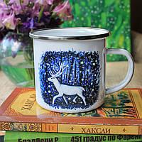 """Металева (емальована) чашка """"Північний олень"""""""