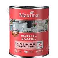 Эмаль Maxima акриловая для дерева и металла белая шелковистый мат 0,75&nbspл