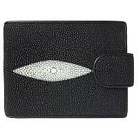 Мужской кошелек портмоне из натуральной кожи ската, цвет черный