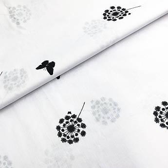 """Відріз тканини Бязь Gold бавовняна """"Одуванчки маленькі чорні з метеликами на білому"""" 95х220см"""