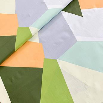 "Отрез ткани Бязь Gold хлопковая ""Пэчворк зелено-оранжевый-серый""100х220см"