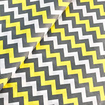 """Отрез ткани Польская хлопковая ткань """"Серо-желтый зигзаг"""" 100х160см"""